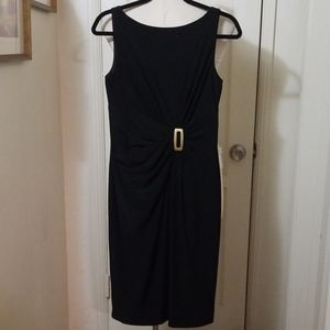 ANNE KLEIN black dress with brass buckle